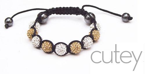 Gold and White Shamballa Bracelet