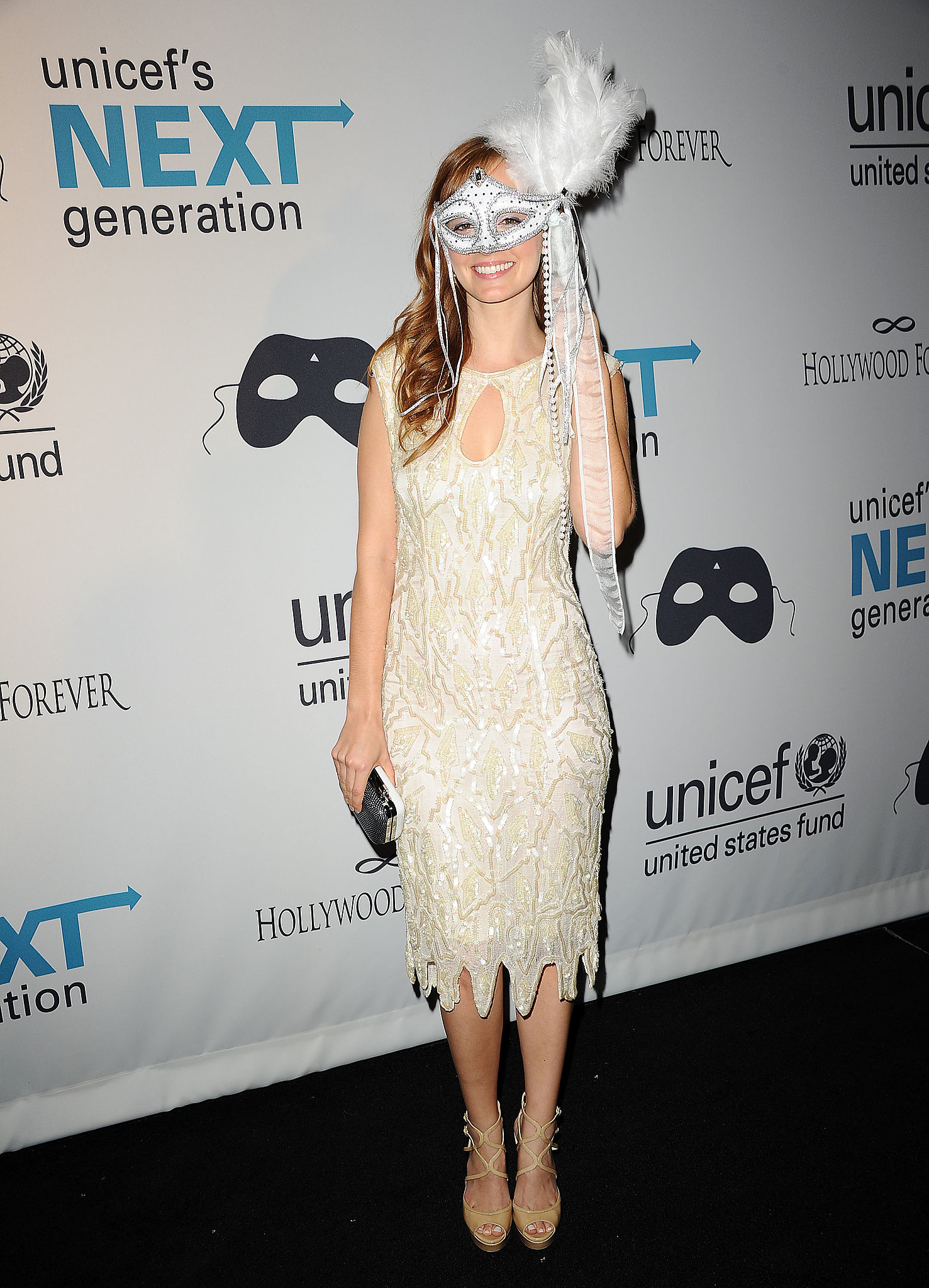 Ahna O'Reilly wore a mask for a Halloween bash in LA.
