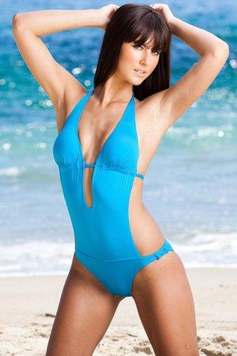 Solid Keyhole Monokini - Swimsuit