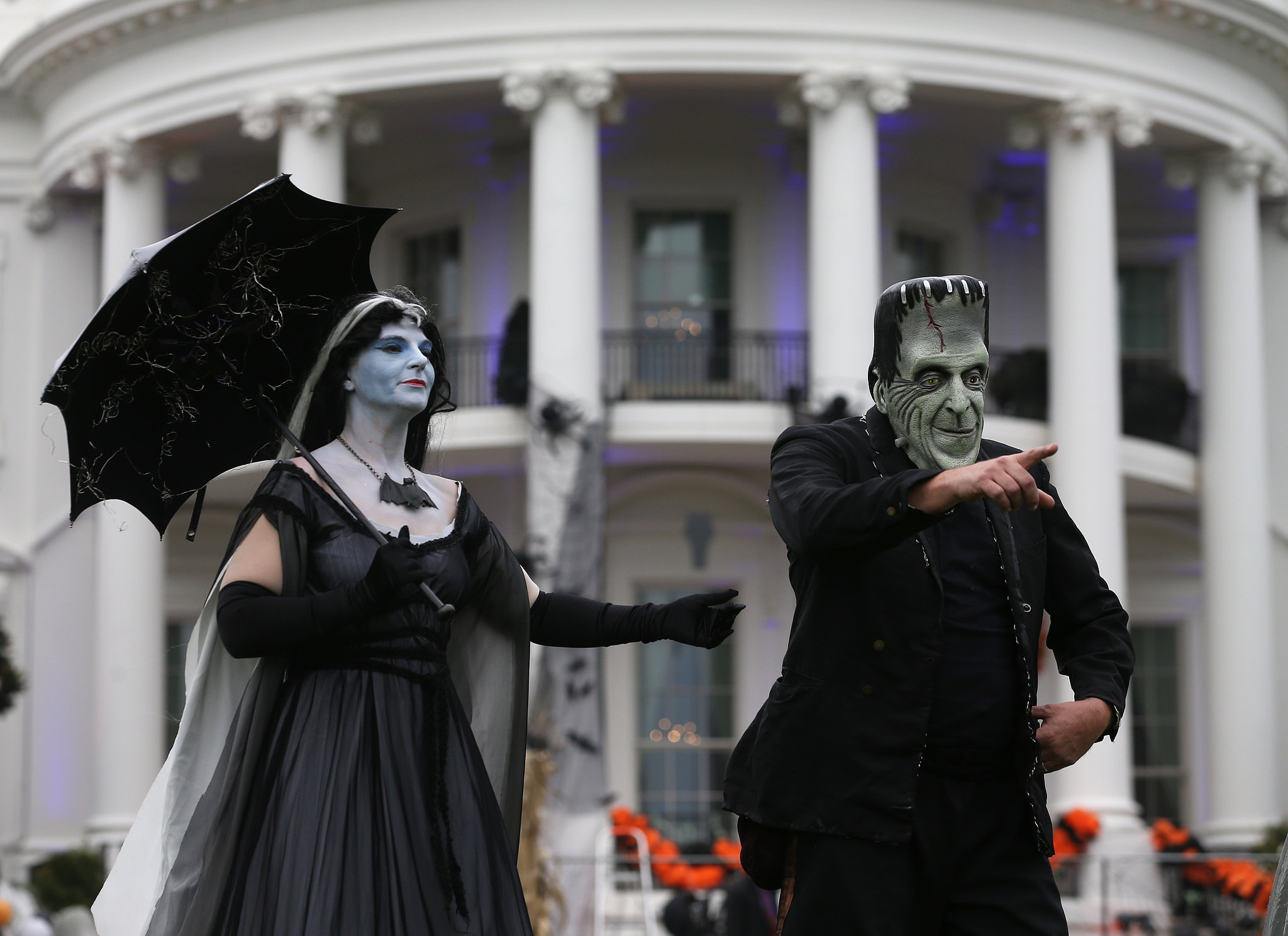 The White House lawn was taken over by people dressed as Frankenstein and his bride.