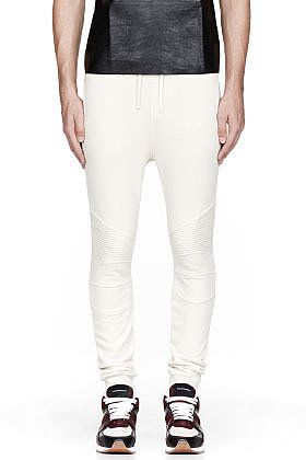 BALMAIN Ivory white ribbed BIKER LOUNGE PANTS