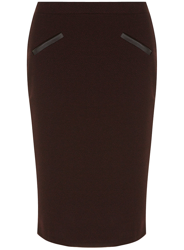 A little texture sets this Dorothy Perkins merlot leather-look pocket textured skirt ($39) apart from your average pencil skirts.