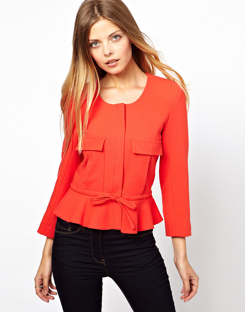 This ASOS peplum jacket with pocket detail ($48, orginally $80) will certainly add pep to your working-girl slacks and skirts.