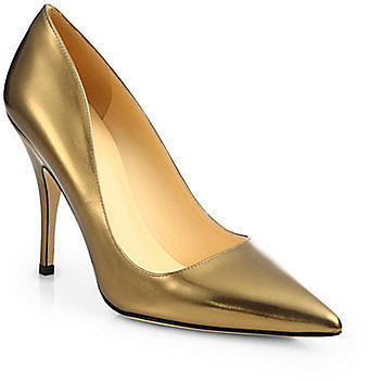 Kate Spade New York Licorice Metallic Leather Pumps