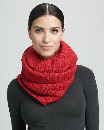 Portolano Popcorn Knit Infinity Scarf, Velluto Red