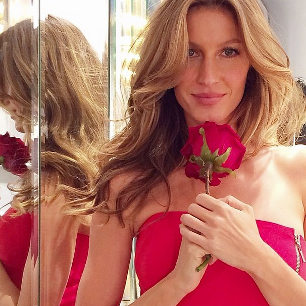 Gisele Bündchen got a kiss from a rose while shooting a Colcci campaign in NYC. Source: Instagram user giseleofficial