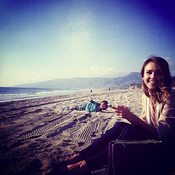 Ben McKenzie's first-ever Instagram photo was of Jessica Alba on the beach as they filmed How to Make Love Like an Englishman in LA. Source: Instagram user mrbenmckenzie78