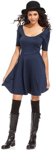 Bar III Dress, Short-Sleeve Scoop-Neck Striped