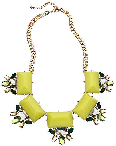 Blu Bijoux Gold Crystal and Yellow Stones Bib Necklace