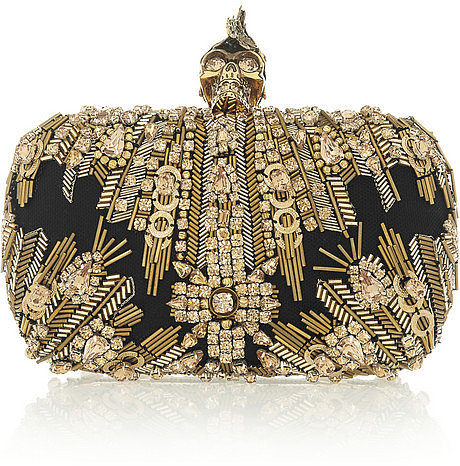 Alexander McQueen The Skull Swarovski crystal-embellished box clutch