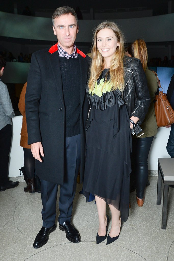 Raf Simons and Elizabeth Olsen represented Dior at the Guggenheim International Gala.