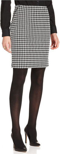 Debbie Morgan Petite Skirt, Houndstooth-Print Pleather-Trim Pencil