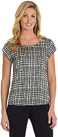 Investments Cap-Sleeve Houndstooth Top
