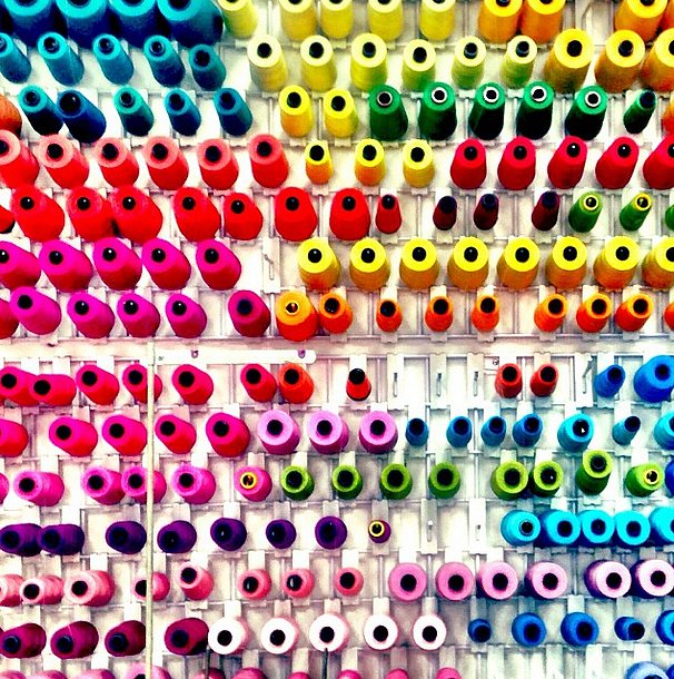 It's hard not to be mesmerized by all the colorful spools at Trina Turk.