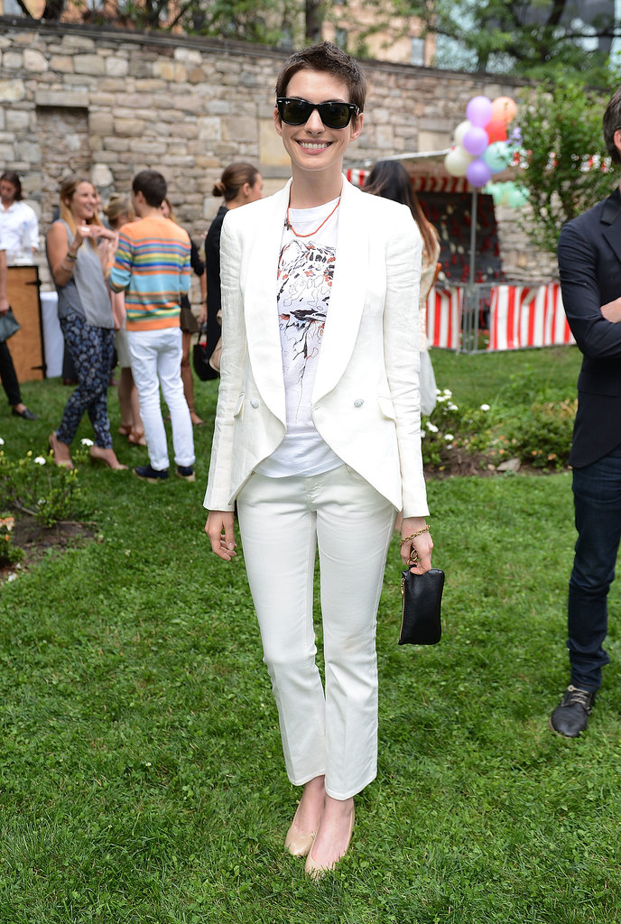 Anne looked sleek and chic donning a white Stella McCartney pantsuit  for the designer's Spring 2012 presentation dinner in NYC.