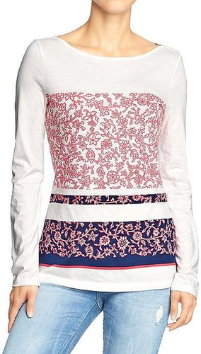 Women's Floral-Print Boat-Neck Tees
