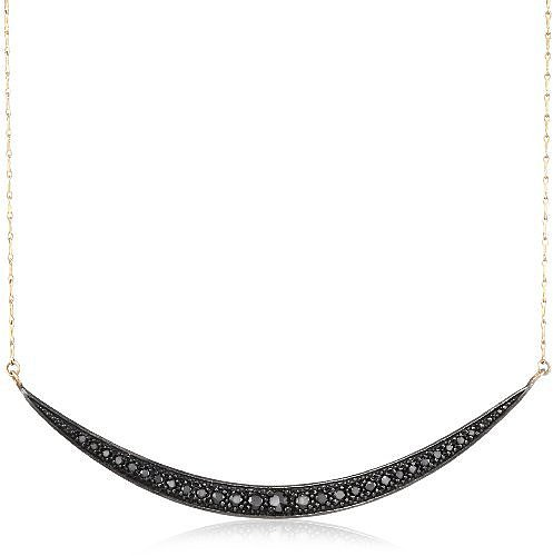 Mizuki 14Kt Charm Long Shadow Silver Crescent Diamond Chain Necklace (.58Ct)