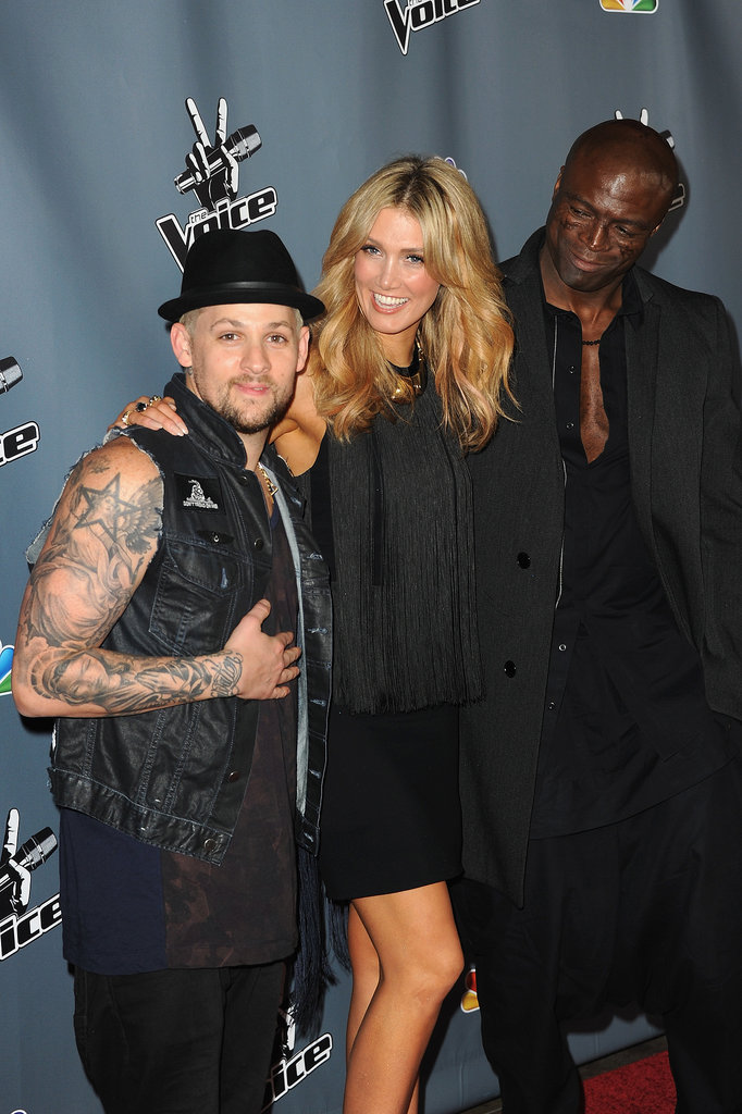 Three-fourths of The Voice Australia's judging panel — from left, Joel Madden, Delta and Seal — attended a screening of The Voice USA in Hollywood in March 2013.