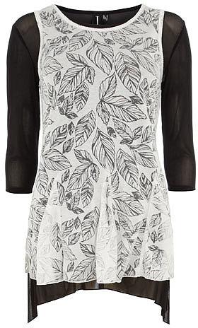 Black/Cream sheer panel dress