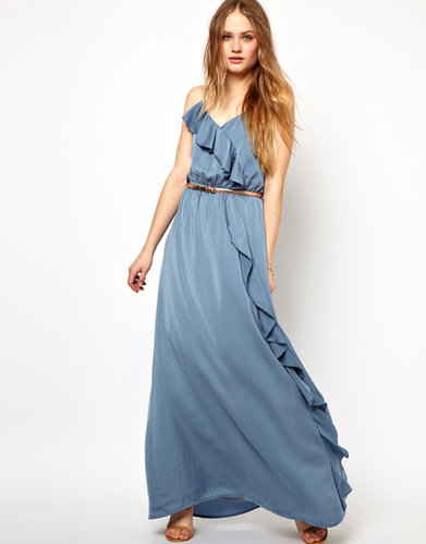 Jarlo Belted Maxi Dress with Frill Detail