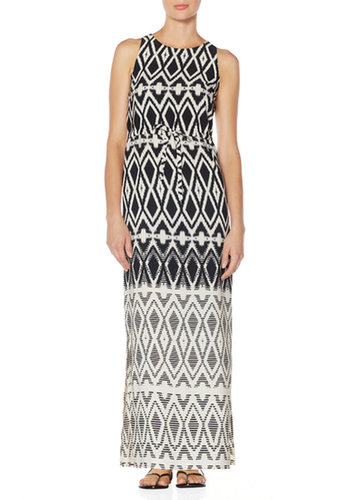 Ikat Border Print Maxi Dress