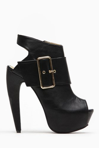 Mona Mia Black Over Sized Buckle Peep Toe Booties @ Cicihot. Booties spell style, so if you want to show what you're made of, pi