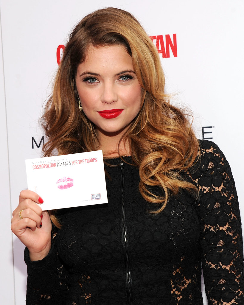 Ashley Benson showed off some glamorous waves while hosting a Kisses For the Troops event in New York this weekend.