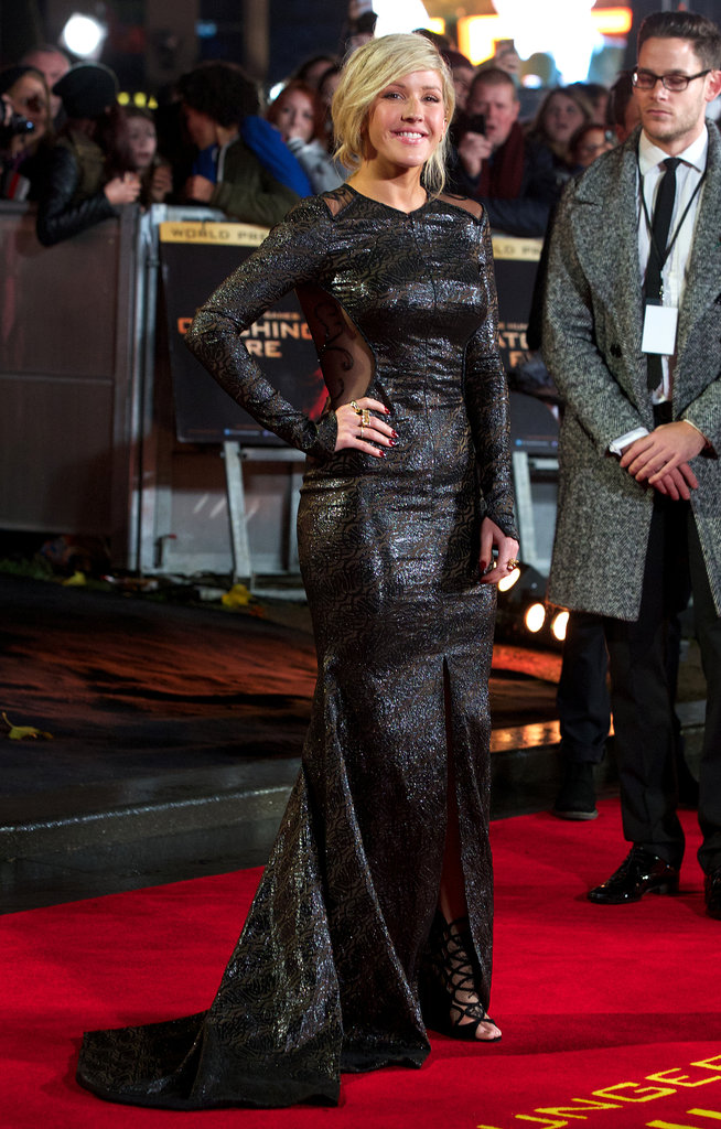 Ellie Goulding turned up to the London premiere in an inky black gown by Pamella Roland from the Fall 2013 collection.