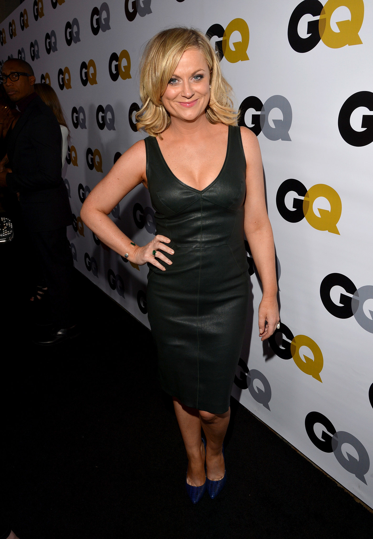 Amy Poehler wore a leather dress for the GQ Men of the Year party in LA.