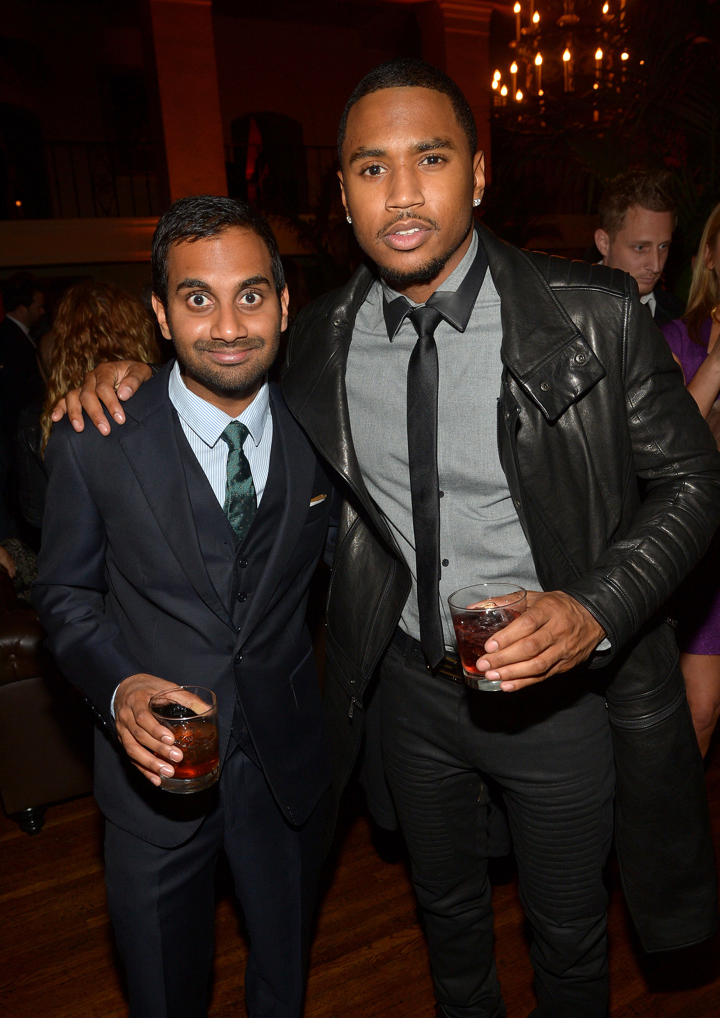 Aziz Ansari and Trey Songz sipped cocktails inside.