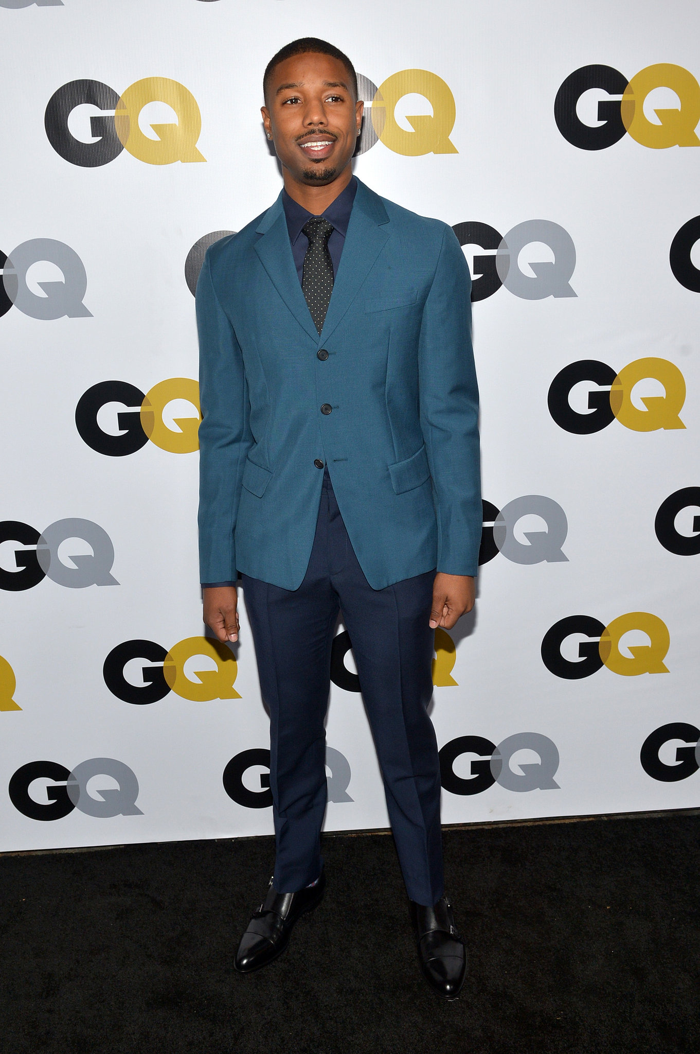 Michael B. Jordan wore shades of blue at the GQ Men of the Year event.