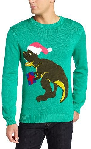 Alex Stevens Men's Santa-Saurus Rex Ugly Christmas Sweater