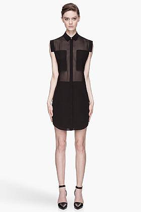 T BY ALEXANDER WANG Black sheer paneled Silk Chiffon Shirtdress