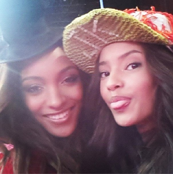 From England, with love —fellow British models Jourdan Dunn and Malaika Firth blew kisses from backstage. Source: Instagram user officialjdunn