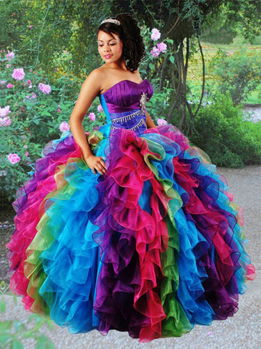 BallGown Sweetheart Organza Floor-length Tiered Quinceanera Dress at sweetquinceaneradress.com