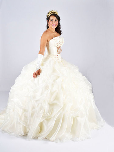 BallGown Strapless Organza Chapel Train Ivory Pick-Ups Quinceanera Dress at sweetquinceaneradress.com