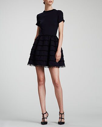 RED Valentino Lace-Trim Full-Skirt Dress, Navy/Black