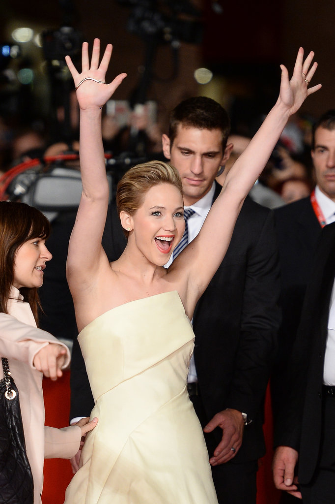 Jennifer Lawrence got animated at the premiere for The Hunger Games: Catching Fire.