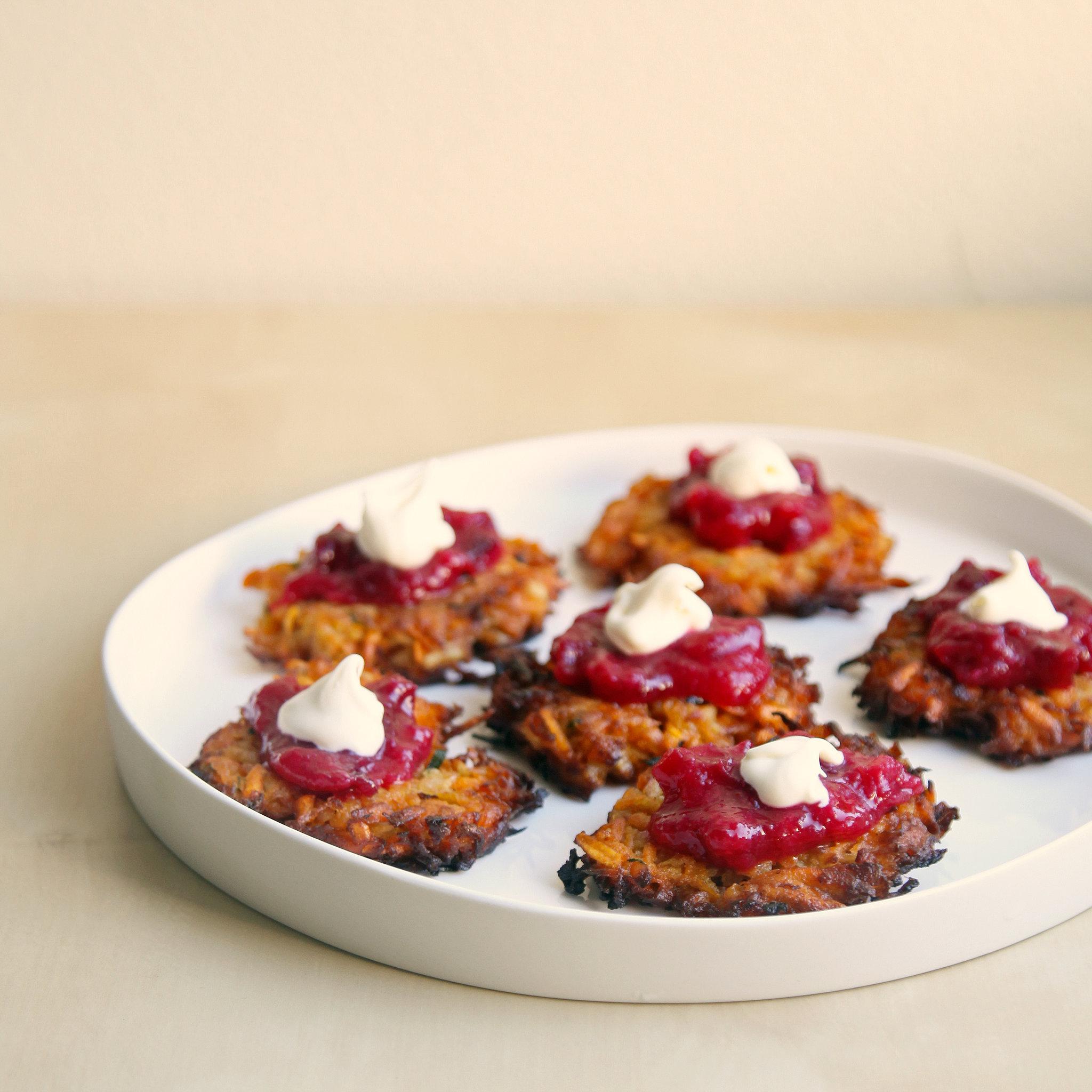 Sweet Potato Latkes With Horseradish Cranberry Sauce
