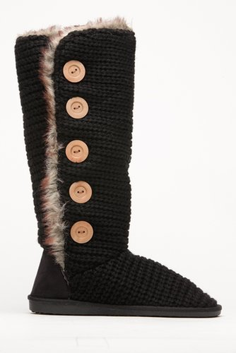 Qupid Black Faux Fur Knit Boots @ Cicihot Boots Catalog:women's winter boots,leather thigh high boots,black platform knee high b