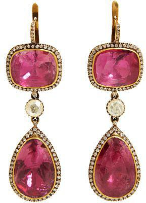 Munnu Pink Tourmaline & Diamond Triple-Drop Earrings
