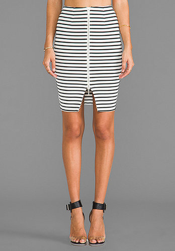 NICHOLAS Breton Stripe Pencil Skirt in White/Black
