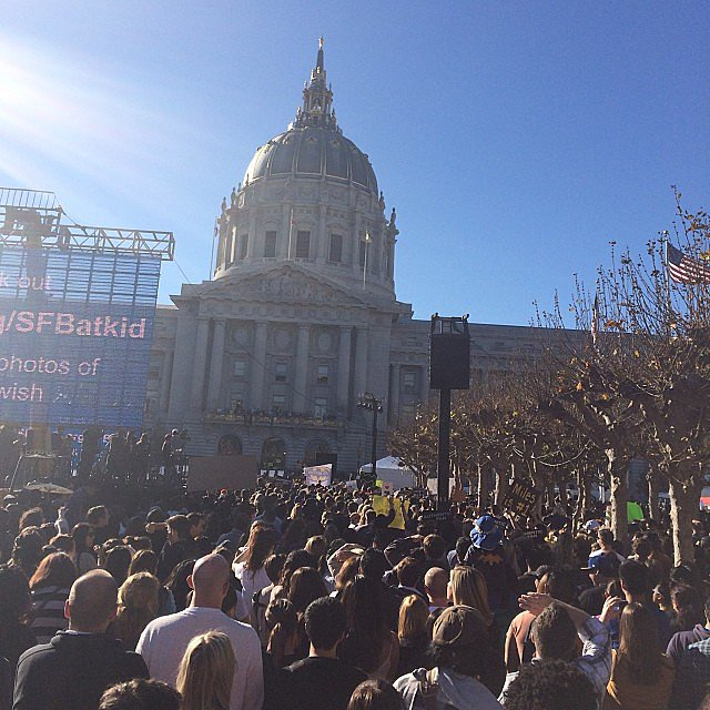 People came out in droves to see Batkid's key ceremony. Source: Instagram user chelsikim