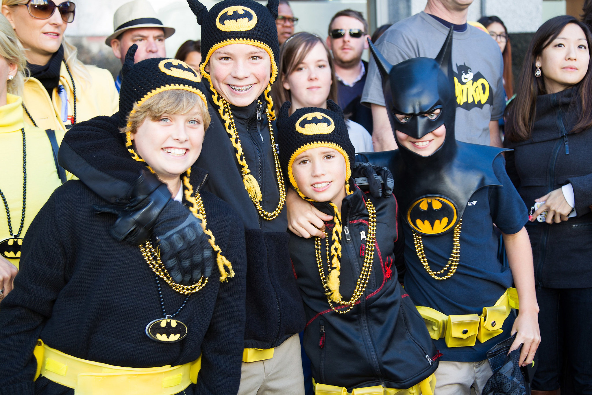 Supporters dressed up, lining the streets in Batman gear.