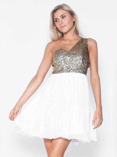 A-line One Shoulder Chiffon Short/Mini Sleeveless Beading Party Dresses at sweetquinceaneradress.com