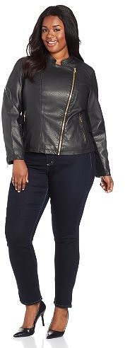 Calvin Klein Women's Plus-Size Embossed Faux Leather Moto Jacket