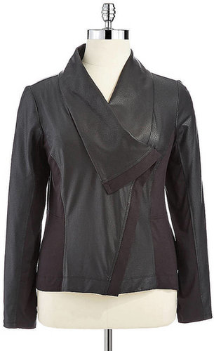 JESSICA SIMPSON WOMENS Plus Faux-Leather Paneled Jacket