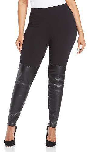 DKNYC Women's Plus-Size Legging with Faux Leather Inserts