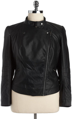 JESSICA SIMPSON WOMENS Plus Trey Faux-Leather Moto Jacket