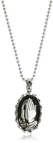 "King Baby 22"" Curb Link Chain with Praying Hand Sterling Silver Pendant Necklace"